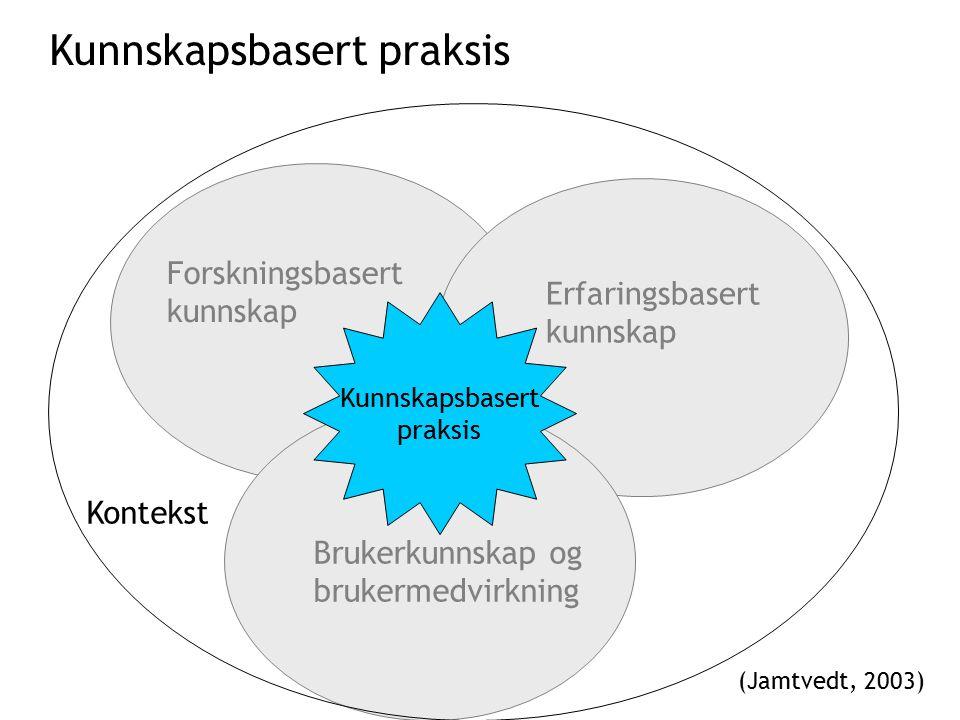 Forskningsbasert kunnskap Erfaringsbasert kunnskap Brukerkunnskap og brukermedvirkning Kunnskapsbasert praksis Kontekst (Jamtvedt, 2003) Kunnskapsbasert praksis