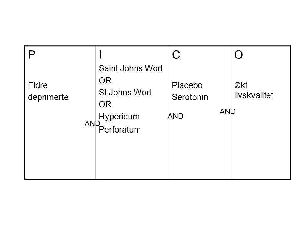 P Eldre deprimerte I Saint Johns Wort OR St Johns Wort OR Hypericum Perforatum C Placebo Serotonin O Økt livskvalitet AND