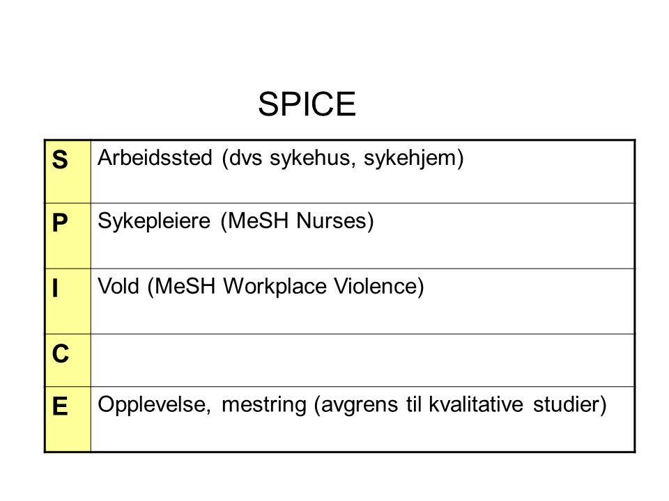 SPICE S Arbeidssted (dvs sykehus, sykehjem) P Sykepleiere (MeSH Nurses) I Vold (MeSH Workplace Violence) C E Opplevelse, mestring (avgrens til kvalita