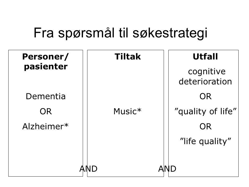 """Fra spørsmål til søkestrategi Personer/ pasienter Dementia OR Alzheimer* Tiltak Music* Utfall cognitive deterioration OR """"quality of life"""" OR """"life qu"""