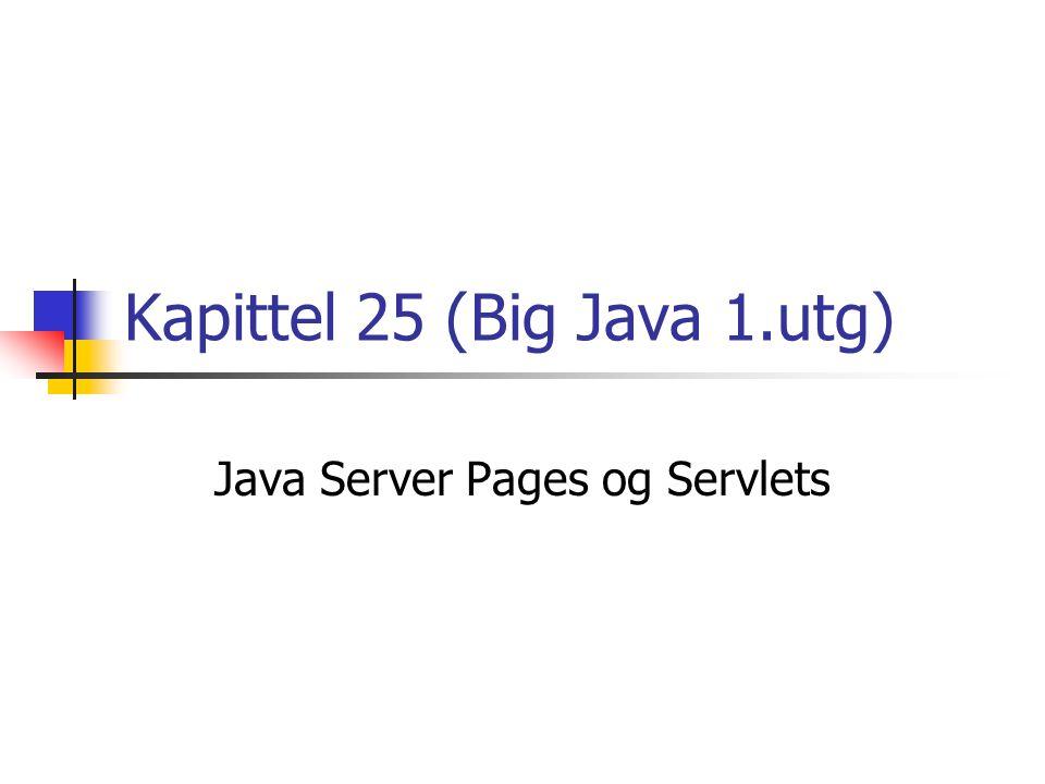 Oversikt Når ein weblesar ber om ei html-side frå ein webserver, vil serveren finne korrekt fil og returnere denne Statisk innhold – det same blir returnert kvar gong, heilt til den aktuelle sida blir erstatta med ei ny Websider med dynamisk innhold er ofte meir interessant Innholdet er avhengig av kven som spør, og av input frå den som spør Vi skal sjå på korleis vi kan lage dynamiske websider ved hjelp av Java Server Pages (JSP) og servlets