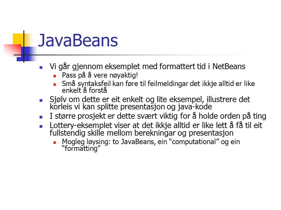 Servlets JSP – sider blir kompilert til servlets Ved første request Ved request etter endring jsp –direktiv og tags blir gjort om til Java- kode Vi gir oss her med web-applikasjoner Stoffet dukkar opp igjen med full tyngde i seinare kurs