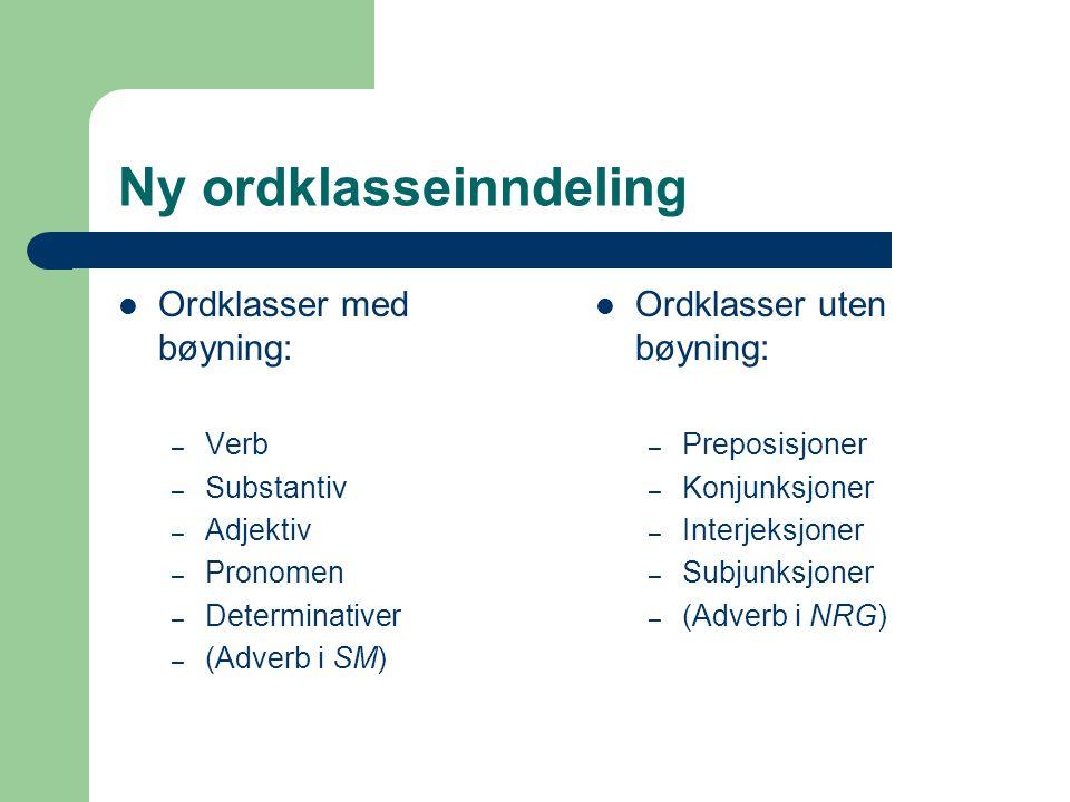 Oversikt over den nye ordklasseinndelingen NRG karakteriserer ordklassene ut fra følgende kriterier: Morfologisk kriterium (bøyning) Syntaktisk egenskap (funksjon i setningsledd) Semantisk type