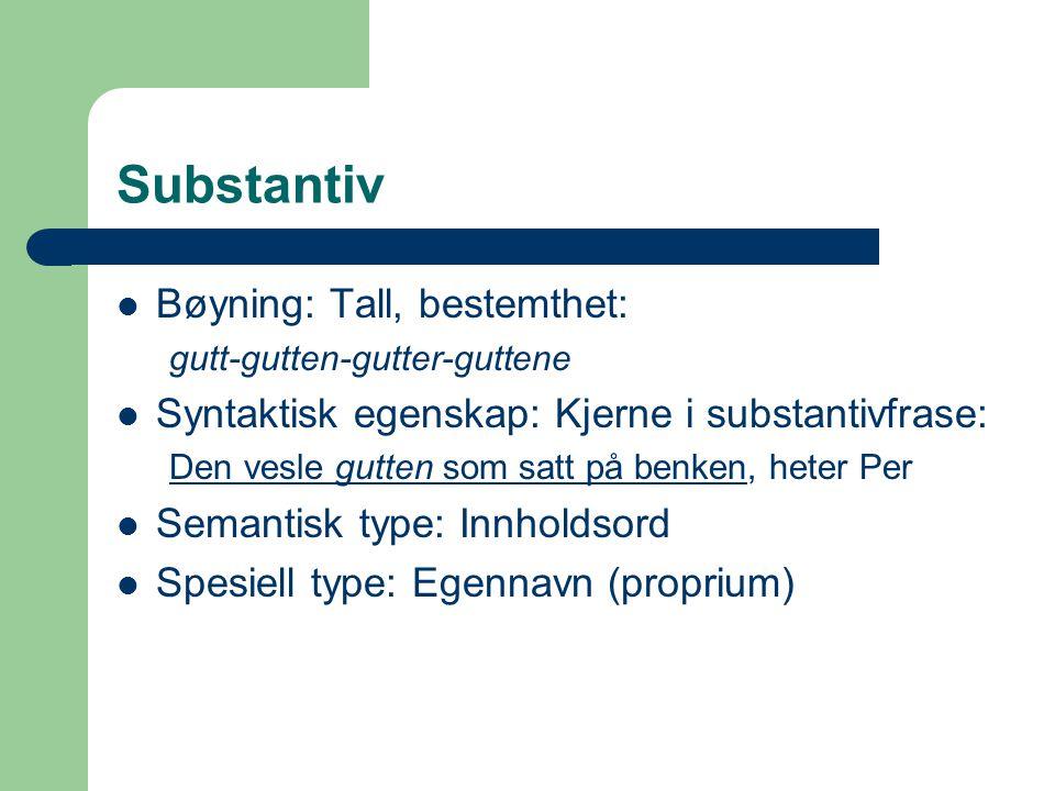 Substantiv Bøyning: Tall, bestemthet: gutt-gutten-gutter-guttene Syntaktisk egenskap: Kjerne i substantivfrase: Den vesle gutten som satt på benken, h