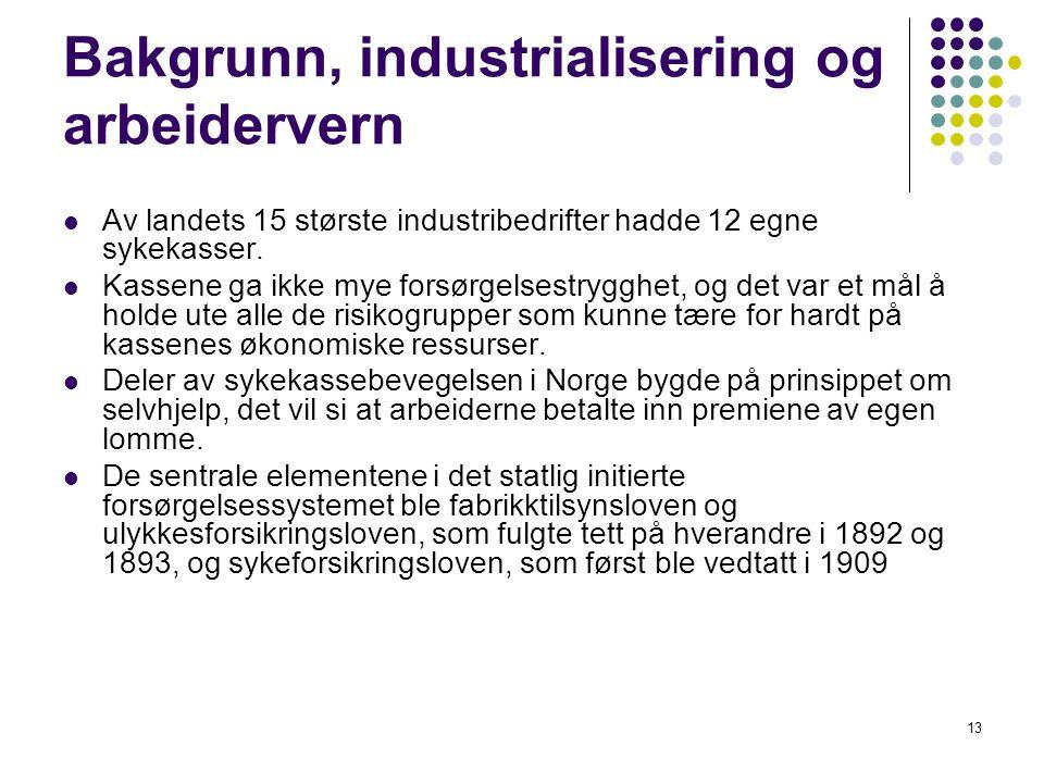 13 Bakgrunn, industrialisering og arbeidervern Av landets 15 største industribedrifter hadde 12 egne sykekasser. Kassene ga ikke mye forsørgelsestrygg
