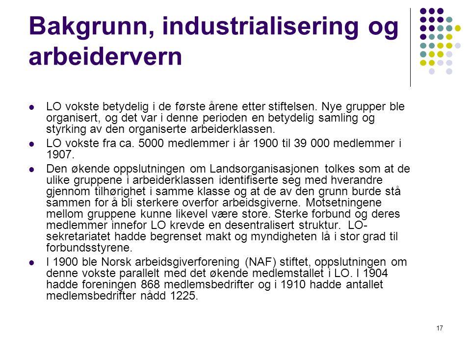 17 Bakgrunn, industrialisering og arbeidervern LO vokste betydelig i de første årene etter stiftelsen. Nye grupper ble organisert, og det var i denne