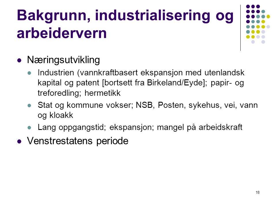 18 Bakgrunn, industrialisering og arbeidervern Næringsutvikling Industrien (vannkraftbasert ekspansjon med utenlandsk kapital og patent [bortsett fra