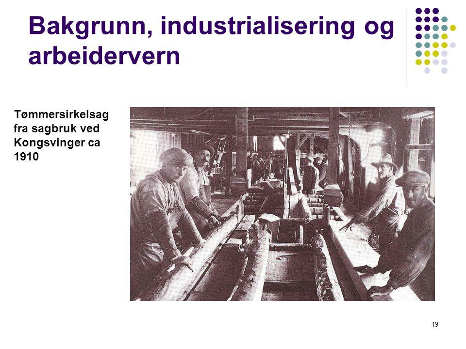 19 Bakgrunn, industrialisering og arbeidervern Tømmersirkelsag fra sagbruk ved Kongsvinger ca 1910