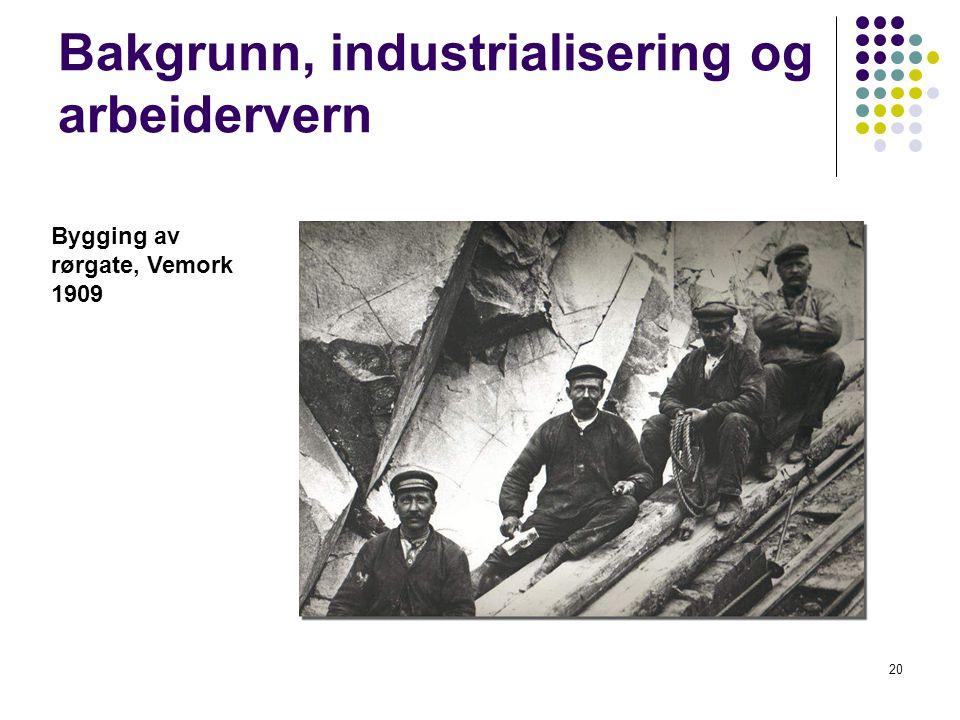 20 Bakgrunn, industrialisering og arbeidervern Bygging av rørgate, Vemork 1909