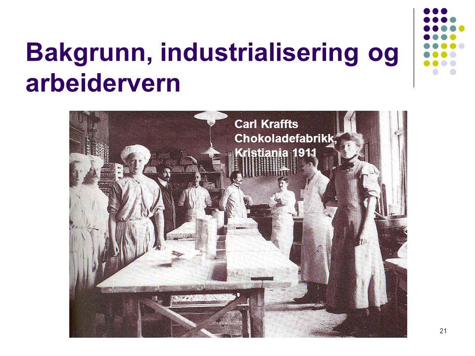 21 Bakgrunn, industrialisering og arbeidervern Carl Kraffts Chokoladefabrikk, Kristiania 1911