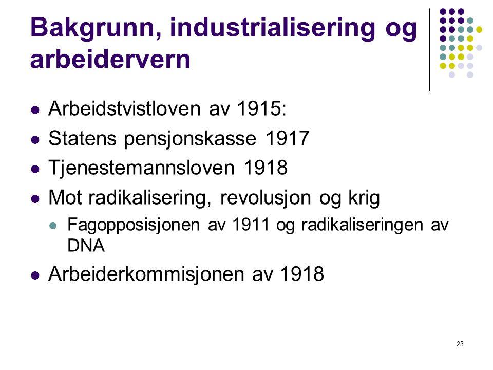 23 Bakgrunn, industrialisering og arbeidervern Arbeidstvistloven av 1915: Statens pensjonskasse 1917 Tjenestemannsloven 1918 Mot radikalisering, revol