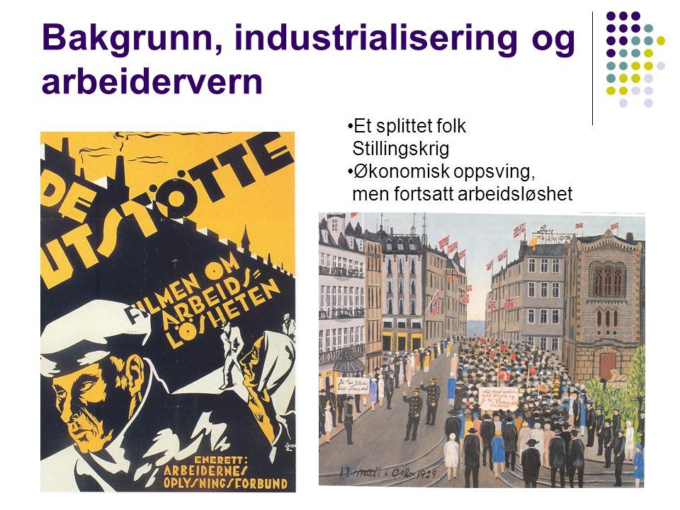 29 Bakgrunn, industrialisering og arbeidervern Et splittet folk Stillingskrig Økonomisk oppsving, men fortsatt arbeidsløshet