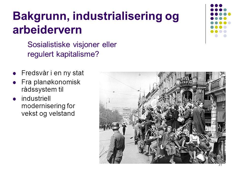 31 Bakgrunn, industrialisering og arbeidervern Fredsvår i en ny stat Fra planøkonomisk rådssystem til industriell modernisering for vekst og velstand