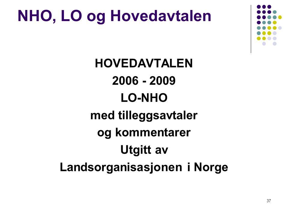 37 NHO, LO og Hovedavtalen HOVEDAVTALEN 2006 - 2009 LO-NHO med tilleggsavtaler og kommentarer Utgitt av Landsorganisasjonen i Norge