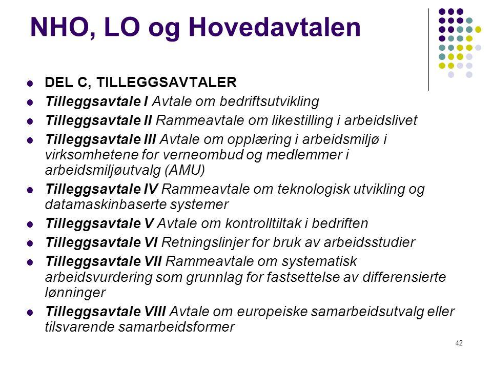 42 NHO, LO og Hovedavtalen DEL C, TILLEGGSAVTALER Tilleggsavtale I Avtale om bedriftsutvikling Tilleggsavtale II Rammeavtale om likestilling i arbeids