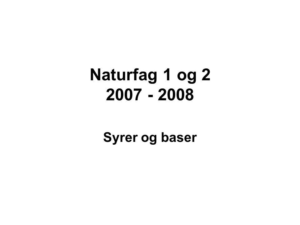 Naturfag 1 og 2 2007 - 2008 Syrer og baser