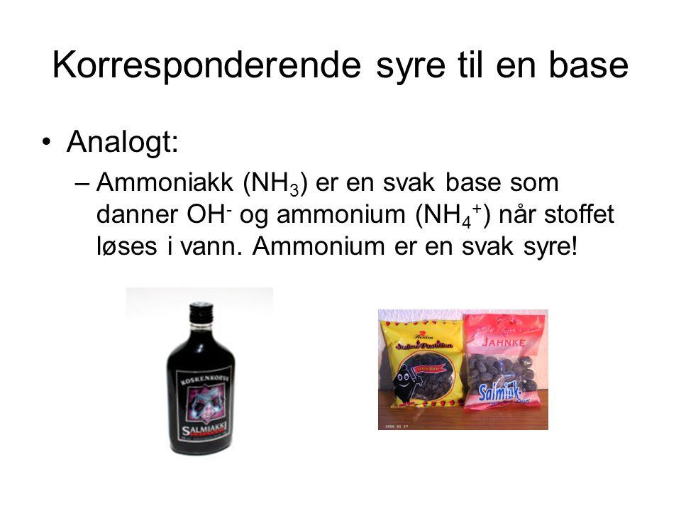 Korresponderende syre til en base Analogt: –Ammoniakk (NH 3 ) er en svak base som danner OH - og ammonium (NH 4 + ) når stoffet løses i vann.