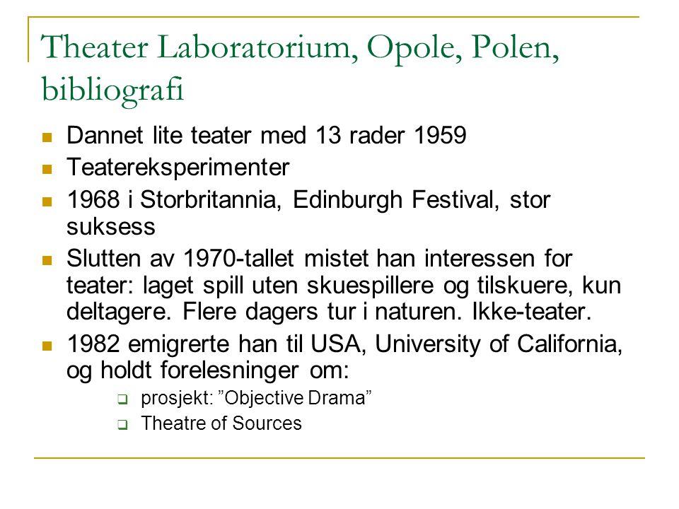 Theater Laboratorium, Opole, Polen, bibliografi Dannet lite teater med 13 rader 1959 Teatereksperimenter 1968 i Storbritannia, Edinburgh Festival, sto