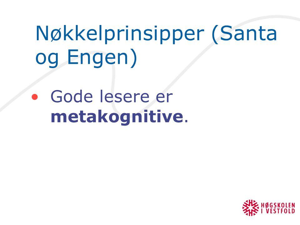 Nøkkelprinsipper (Santa og Engen) Gode lesere er metakognitive.