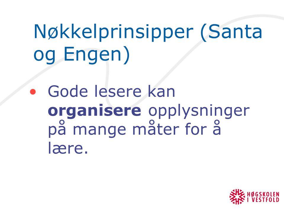 Nøkkelprinsipper (Santa og Engen) Gode lesere kan organisere opplysninger på mange måter for å lære.