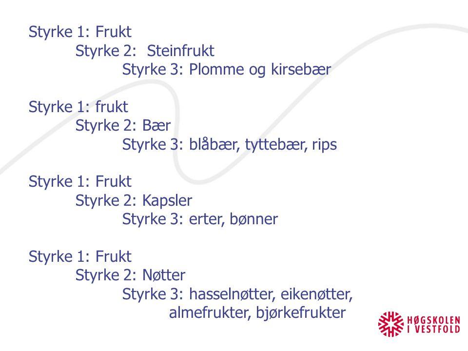 Styrke 1: Frukt Styrke 2: Steinfrukt Styrke 3: Plomme og kirsebær Styrke 1: frukt Styrke 2: Bær Styrke 3: blåbær, tyttebær, rips Styrke 1: Frukt Styrk
