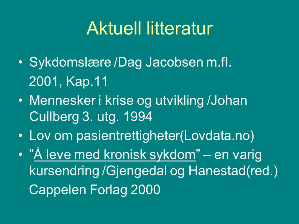 Aktuell litteratur Sykdomslære /Dag Jacobsen m.fl.