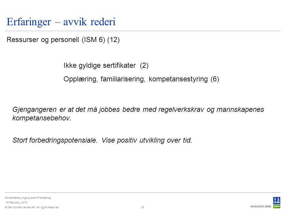 © Det Norske Veritas AS. All rights reserved. Sikkerhetsstyringssystem Fiskefartøy 16 February 2010 26 Erfaringer – avvik rederi Ressurser og personel