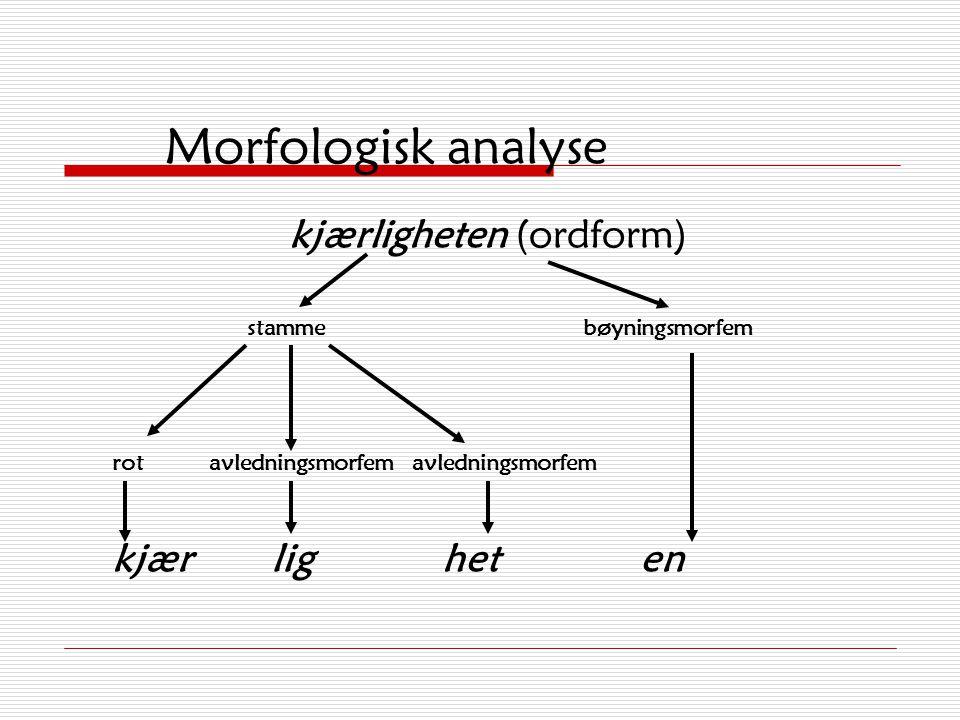 Morfologisk analyse  Spørsmål 1: Er ordet bøyd? Har ordet bøyingsmorfem(er)?  Spørsmål 2: Hva består stammen av?  Underspørsmål: Har ordet avlednin