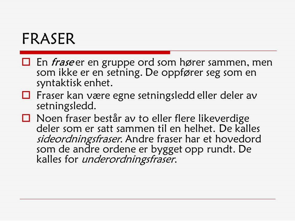 SETNINGSLEDD – ULIKE TYPER  Verbal  Subjekt  Predikativ  Objekt  Adverbial
