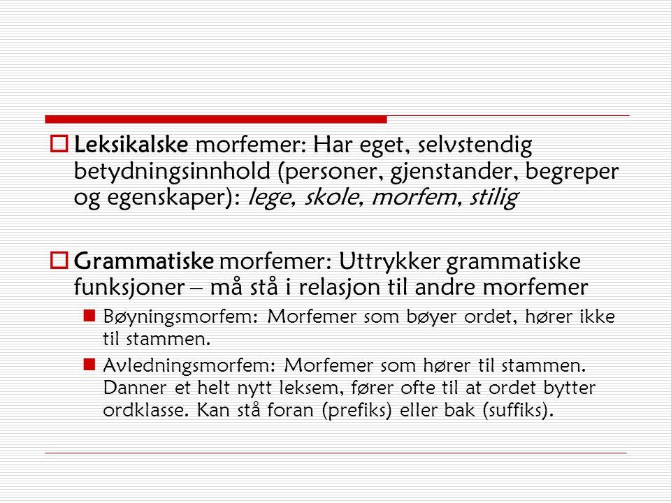 Morfemtyper Morfemer Leksikalske morfemer (selvstendig betydning) Eks. blomst, fri, le Grammatiske morfemer (uselvstendig betydning) Eks. blomst-er, f