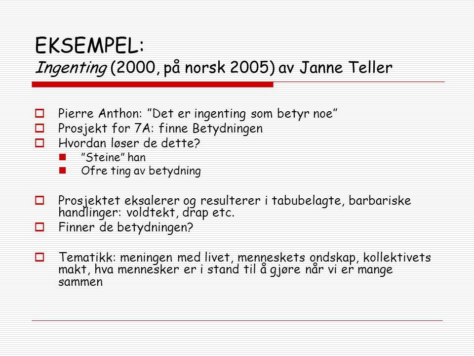 """EKSEMPEL: Ingenting (2000, på norsk 2005) av Janne Teller  Pierre Anthon: """"Det er ingenting som betyr noe""""  Prosjekt for 7A: finne Betydningen  Hvo"""