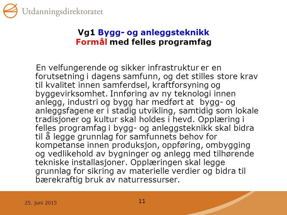 25. juni 2015 11 Vg1 Bygg- og anleggsteknikk Formål med felles programfag En velfungerende og sikker infrastruktur er en forutsetning i dagens samfunn