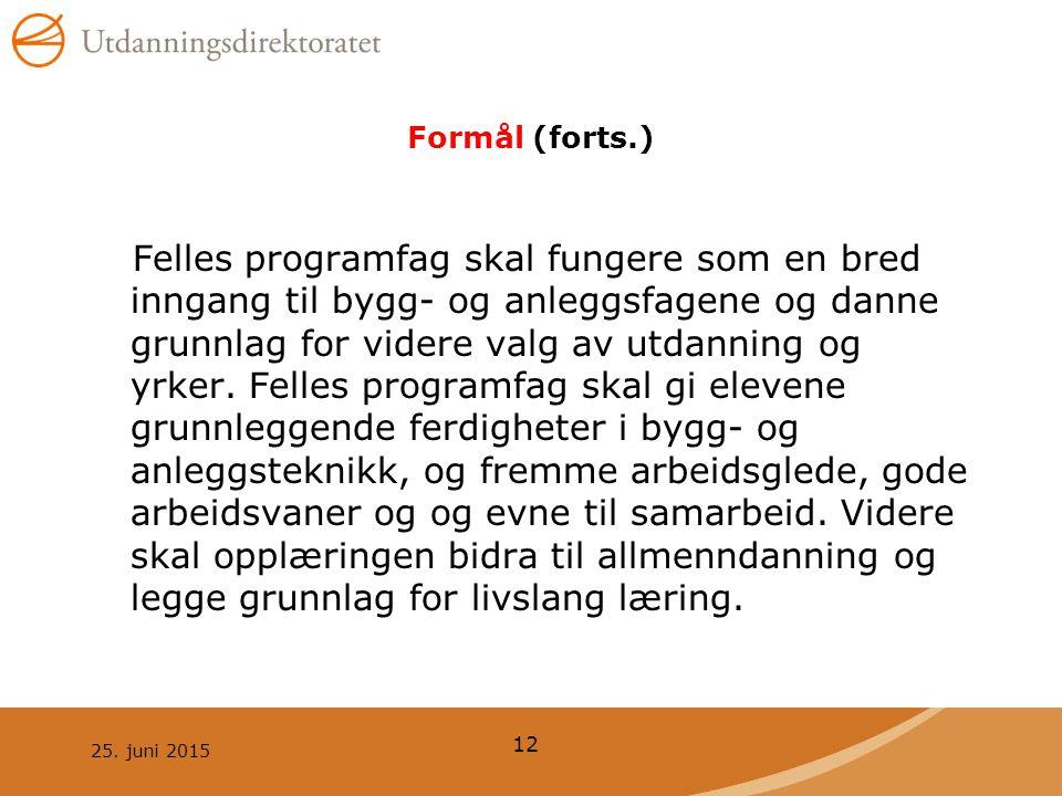 25. juni 2015 12 Formål (forts.) Felles programfag skal fungere som en bred inngang til bygg- og anleggsfagene og danne grunnlag for videre valg av ut