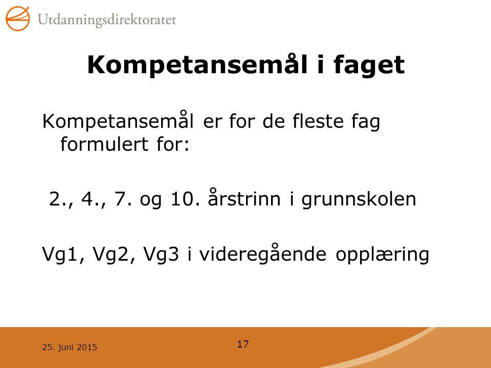 25.juni 2015 17 Kompetansemål i faget Kompetansemål er for de fleste fag formulert for: 2., 4., 7.