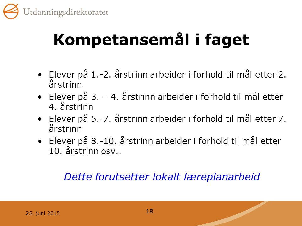 25.juni 2015 18 Kompetansemål i faget Elever på 1.-2.