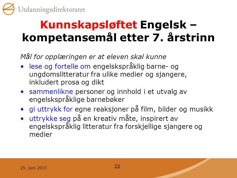 25.juni 2015 22 Kunnskapsløftet Engelsk – kompetansemål etter 7.