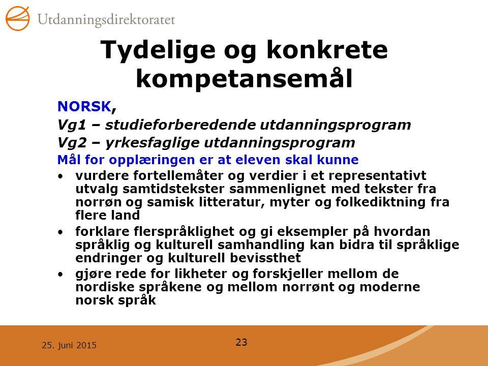 25. juni 2015 23 Tydelige og konkrete kompetansemål NORSK, Vg1 – studieforberedende utdanningsprogram Vg2 – yrkesfaglige utdanningsprogram Mål for opp