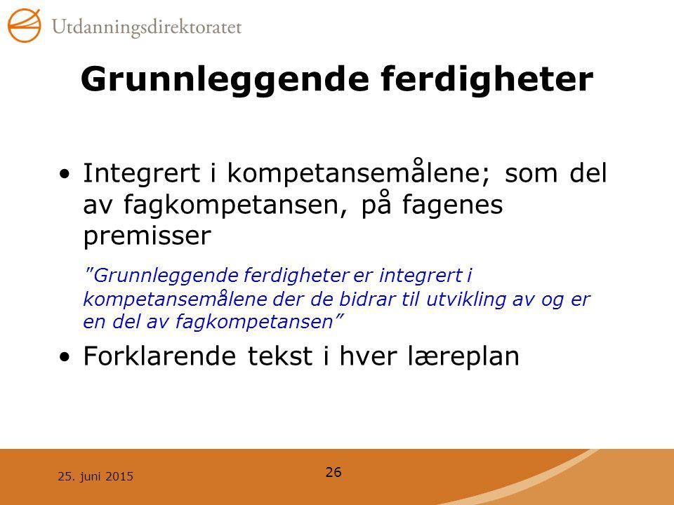 """25. juni 2015 26 Grunnleggende ferdigheter Integrert i kompetansemålene; som del av fagkompetansen, på fagenes premisser """"Grunnleggende ferdigheter er"""