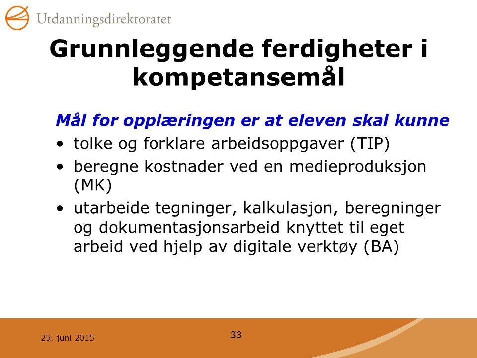 25. juni 2015 33 Grunnleggende ferdigheter i kompetansemål Mål for opplæringen er at eleven skal kunne tolke og forklare arbeidsoppgaver (TIP) beregne