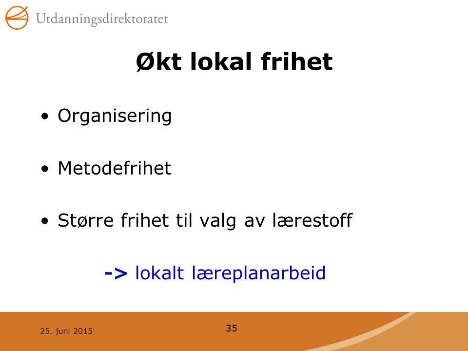 25. juni 2015 35 Økt lokal frihet Organisering Metodefrihet Større frihet til valg av lærestoff -> lokalt læreplanarbeid