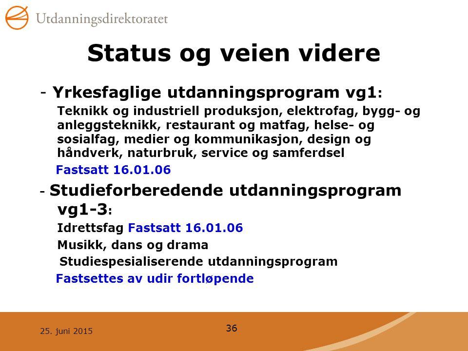 25. juni 2015 36 Status og veien videre - Yrkesfaglige utdanningsprogram vg1 : Teknikk og industriell produksjon, elektrofag, bygg- og anleggsteknikk,