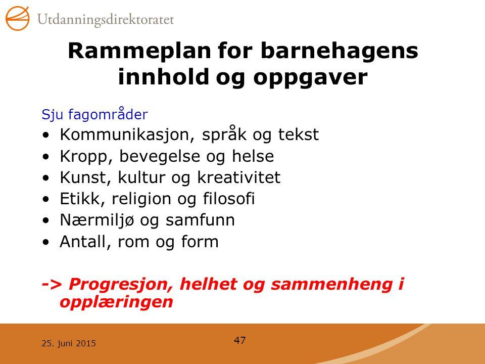 25. juni 2015 47 Rammeplan for barnehagens innhold og oppgaver Sju fagområder Kommunikasjon, språk og tekst Kropp, bevegelse og helse Kunst, kultur og