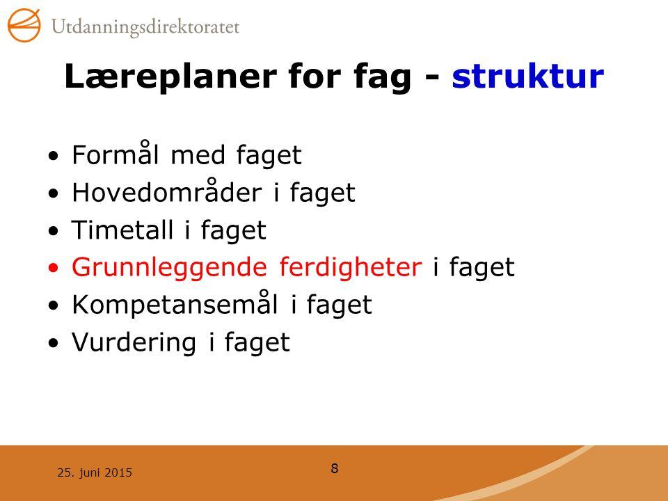 25. juni 2015 8 Læreplaner for fag - struktur Formål med faget Hovedområder i faget Timetall i faget Grunnleggende ferdigheter i faget Kompetansemål i