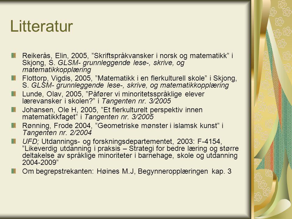 """Litteratur Reikerås, Elin, 2005, """"Skriftspråkvansker i norsk og matematikk"""" i Skjong, S. GLSM- grunnleggende lese-, skrive, og matematikkopplæring Flo"""