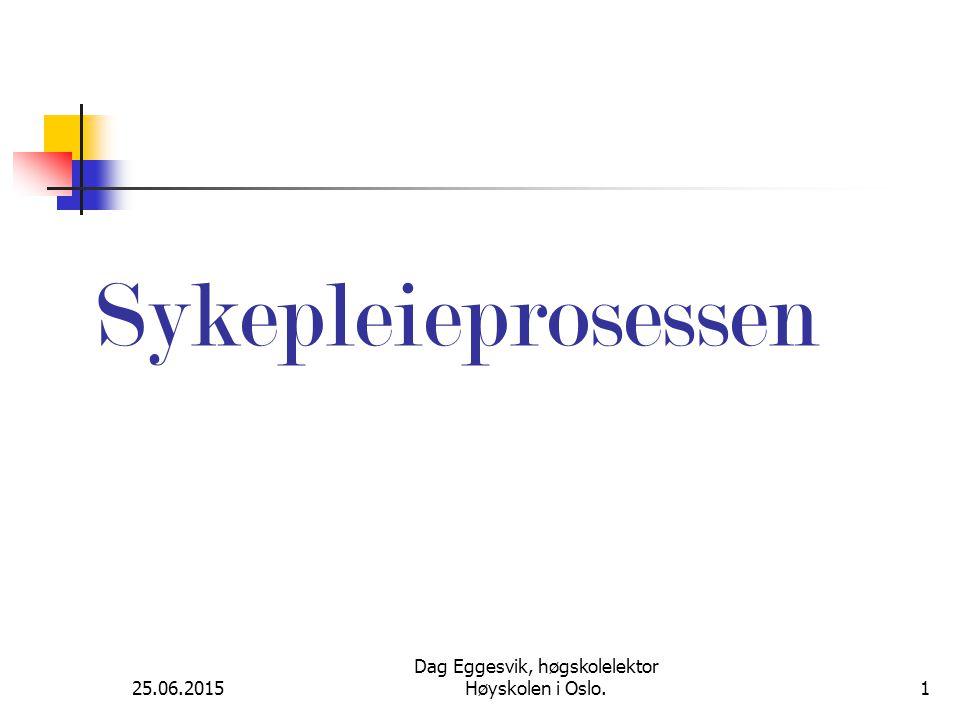25.06.2015 Dag Eggesvik, høgskolelektor Høyskolen i Oslo.1 Sykepleieprosessen