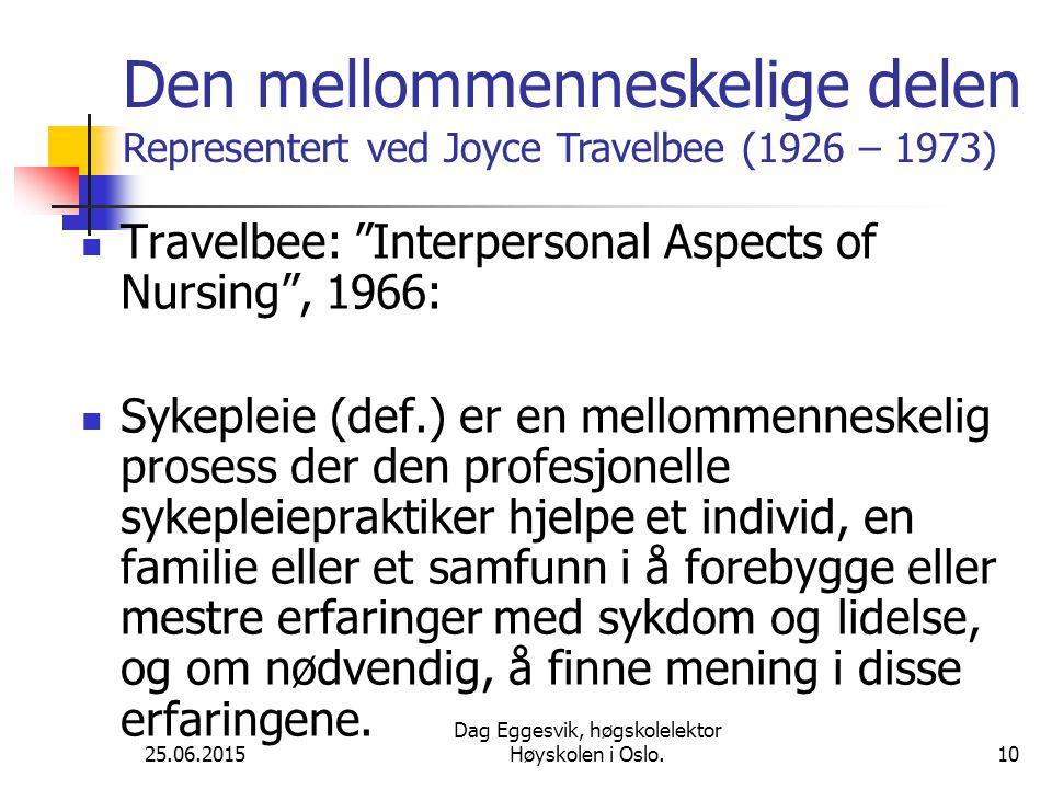 25.06.2015 Dag Eggesvik, høgskolelektor Høyskolen i Oslo.10 Travelbee: Interpersonal Aspects of Nursing , 1966: Sykepleie (def.) er en mellommenneskelig prosess der den profesjonelle sykepleiepraktiker hjelpe et individ, en familie eller et samfunn i å forebygge eller mestre erfaringer med sykdom og lidelse, og om nødvendig, å finne mening i disse erfaringene.