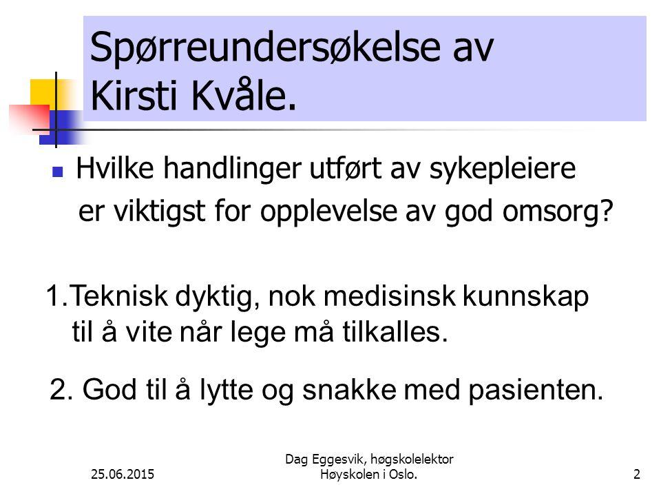 25.06.2015 Dag Eggesvik, høgskolelektor Høyskolen i Oslo.13 Joyce Travelbee Målet er at den syke skal føle seg nyttig i forhold til å fullføre de livsoppgaver som bare han / hun kan gjennomføre.
