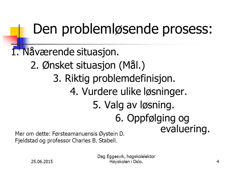 25.06.2015 Dag Eggesvik, høgskolelektor Høyskolen i Oslo.5 Sykepleieprosessen: 1.