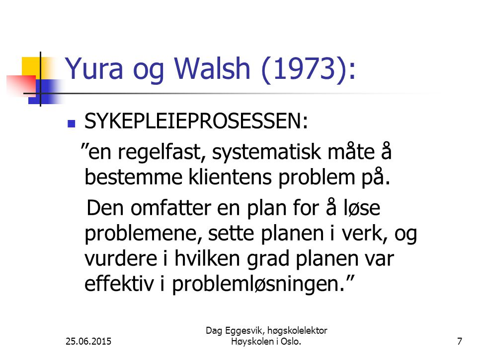 25.06.2015 Dag Eggesvik, høgskolelektor Høyskolen i Oslo.7 Yura og Walsh (1973): SYKEPLEIEPROSESSEN: en regelfast, systematisk måte å bestemme klientens problem på.