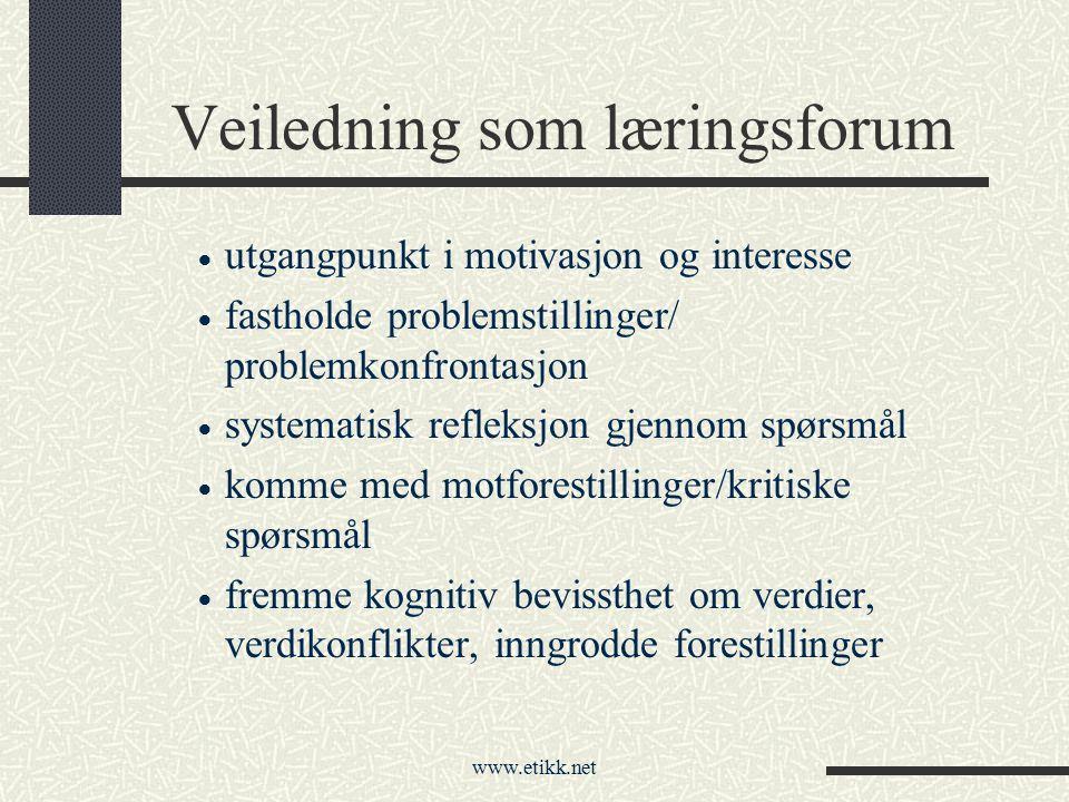 www.etikk.net Veiledning som læringsforum  utgangpunkt i motivasjon og interesse  fastholde problemstillinger/ problemkonfrontasjon  systematisk re